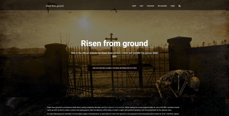 Risen from ground - MMO RPG, Website Screenshot