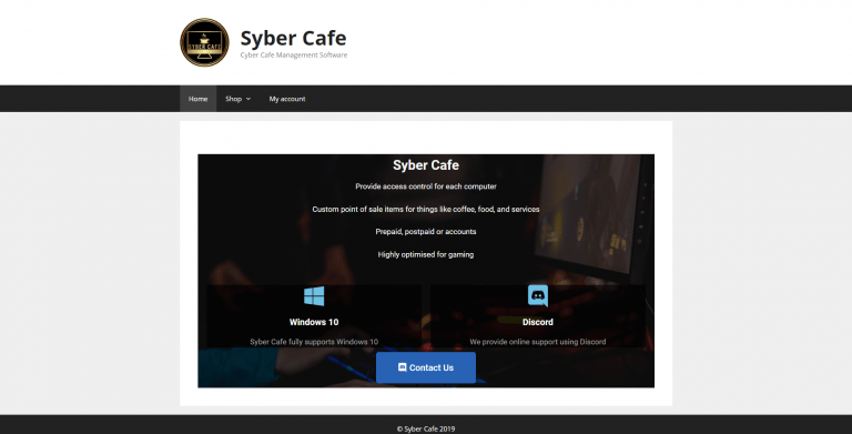 Syber Cafe – Cyber Cafe Management Software, Website Screenshot